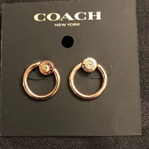 Coach- Small gold hoop earrings with Coach logo